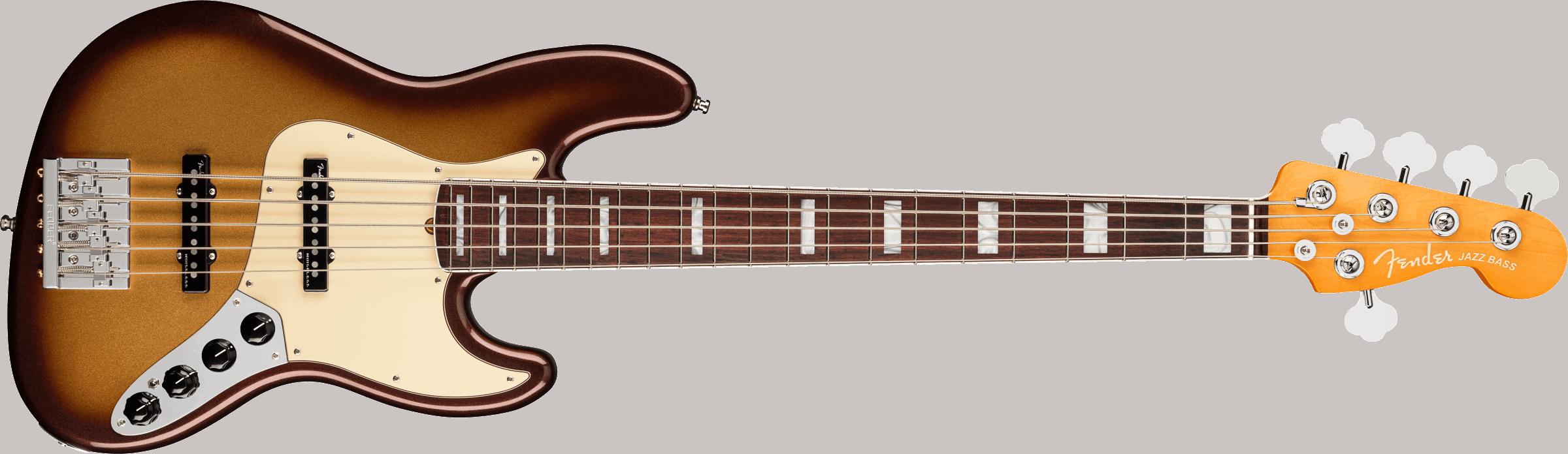 Fender American Ultra Jazz Bass® V, Rosewood Fingerboard, Mocha Burst