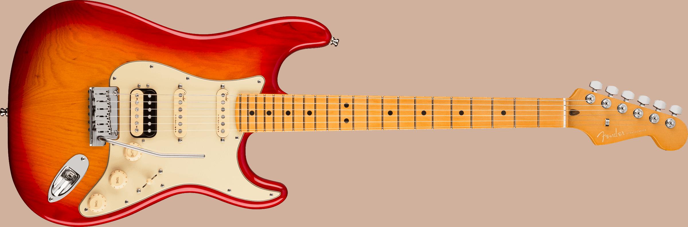Fender American Ultra Stratocaster® HSS, Maple Fingerboard, Plasma Red Burst